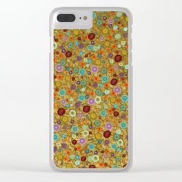 Playful Watercolor dots pattern - Gold Clear iPhone Case