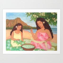 Mother & Daughter Making Leis Art Print