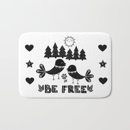 Be Free Birds In Cute Scandinavian Style Bath Mat