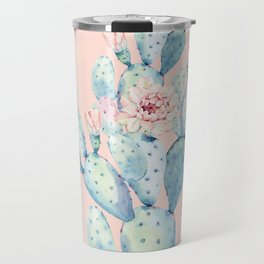 Rose Desert Cactus on Pink by Nature Magick Travel Mug