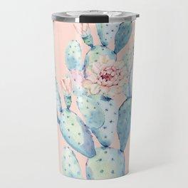 Rose Desert Cactus on Pink by Nature Magick Travel Mug