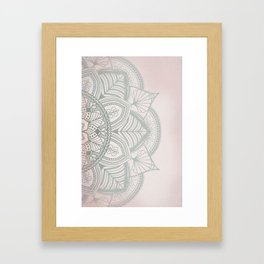 Blush Pink and Mint Mandala Framed Art Print