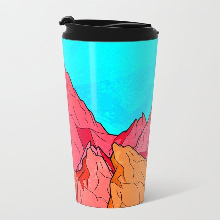 The Red and Orange Mounts Metal Travel Mug