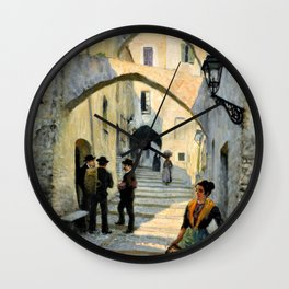 Paul Gustav Fischer - Street Life In San Remo - Digital Remastered Edition Wall Clock