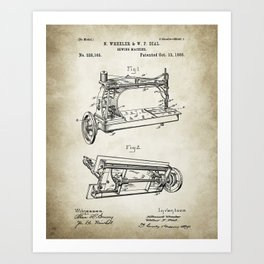 Sewing machine patent 13, 1885 Drawing Art Print