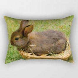Little rabbit in the basket Rectangular Pillow