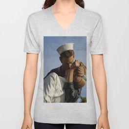 Kissing Sailor And Nurse Portrait Unisex V-Neck