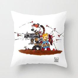 Calvin and Hobbes Inspired Hero Parody Throw Pillow