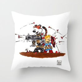 Calvin and Hobbes Inspired Hero Parody Throw Pillow