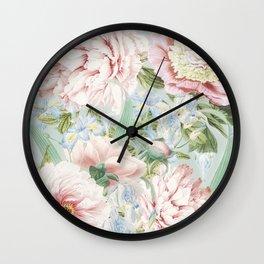 Vintage Blush Peonies  Wall Clock