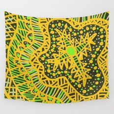 Doodle 16 Yellow Wall Tapestry