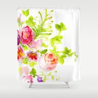 card Shower Curtains featuring Floral Card by Svitlana M