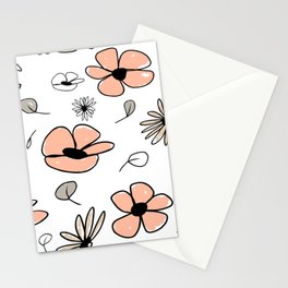 Peach and Neutral Flowers Stationery Cards