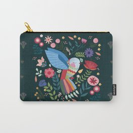 Folk Art Inspired Hummingbird With A Flurry Of Flowers Carry-All Pouch
