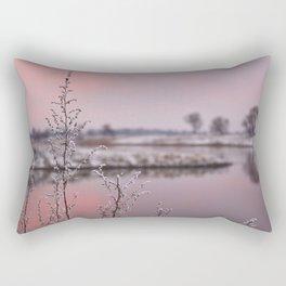 Winter Sunset At River Bank Rectangular Pillow