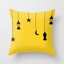 yellow falling star Throw Pillow