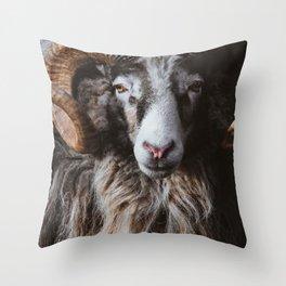 Portrait of a ram Throw Pillow