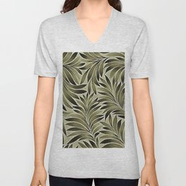 Arty Leaves In Dull Green Grey Khaki Color Unisex V-Neck