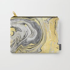 Reiko - gold grey black and white minimal marble abstract ink japanese modern monoprint art  Carry-All Pouch