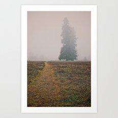 Hiking in the Fog Art Print