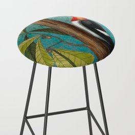 Red Headed Woodpecker with Oak, Natural History and Botanical collage Bar Stool