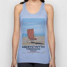 Aberystwyth Wales vintage beach poster Unisex Tank Top