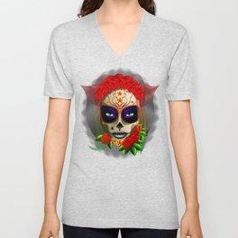 Skull Girl Dia de los Muertos Portrait Unisex V-Neck