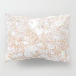 Elegant white faux glitter stylish marble pattern Pillow Sham
