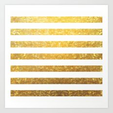 White and Gold Stripes  Art Print