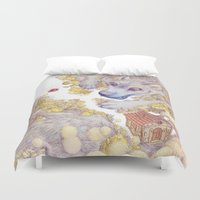 red riding hood Duvet Covers featuring Lttle Red Riding Hood by Pictographe