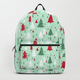 Mint, Red & Green Pine Trees Backpack