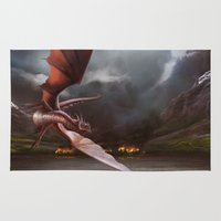 smaug Area & Throw Rugs featuring Smaug Burns Lake-Town by Andy Fairhurst Art
