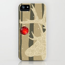 Golden Glittery Deer Holiday Design iPhone Case