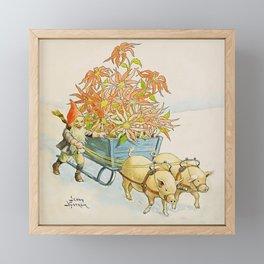 """""""Poinsettia Wagon"""" by Jenny Nystrom Framed Mini Art Print"""