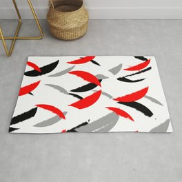 black white red grey abstract minimal pattern Rug