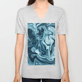 Blue Waves Liquid Marble Unisex V-Neck