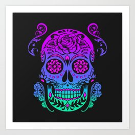 Sugar Skull Neon Flower Art Print