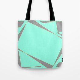Modern abstract aqua teal silver gray geometrical Tote Bag