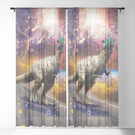 Dinosaur With Sunglasses On Skateboard In Space Sheer Curtain
