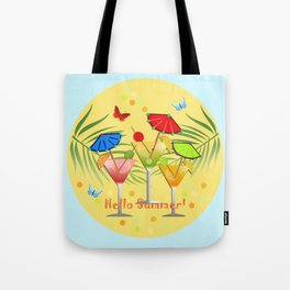Hello Summer, vector illustration with text Tote Bag