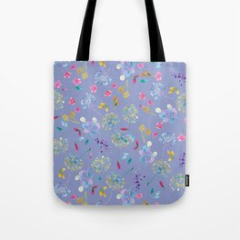 Bright Blossoms on Periwinkle Tote Bag