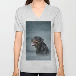 Rottweiler dog Unisex V-Neck