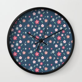 Flowery Summer Dark Wall Clock