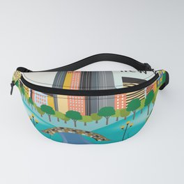 New York City, New York - Skyline Illustration by Loose Petals Fanny Pack