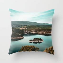 Little Mountain Island // Teal and Rustic Lake Photograph in Colorado Throw Pillow
