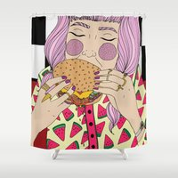 burger Shower Curtains featuring Burger by Phie Hackett