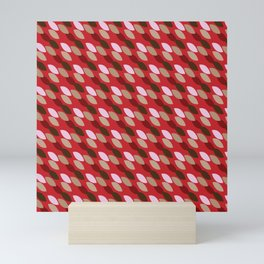Abstract Leaves (Red): a lively everyday pattern with a retro feel to rev up your day Mini Art Print