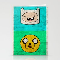 finn and jake Stationery Cards featuring Finn & Jake by WolfFace