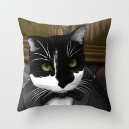 Cat in a Suit Throw Pillow