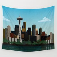 seattle Wall Tapestries featuring Seattle by WyattDesign